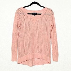 American Eagle   Pink Open Knit High Low Sweater